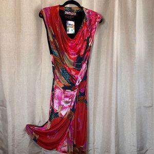 Multicolor Desigual Cowl Neck Dress